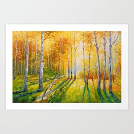 Road in a birch forest Art Print