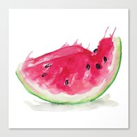 watermelon Canvas Prints featuring Watermelon by Bridget Davidson