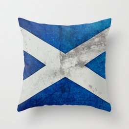 A grunge looking distressed Scottish flag Throw Pillow