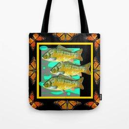 MODERN  MONARCH BUTTERFLIES FISH BLACK  AQUATIC  COLLAGE Tote Bag
