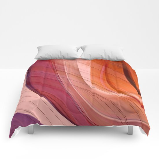 Colorgradient purple and orange Comforters