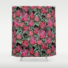 Protea flowers, watercolor botanical on black Shower Curtain