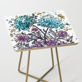 Purple floral watercolor abstraction Side Table