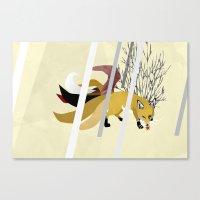 kitsune Canvas Prints featuring Kitsune by ravenguerrero