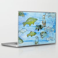 otters Laptop & iPad Skins featuring Otters and Carp by PA'LANE
