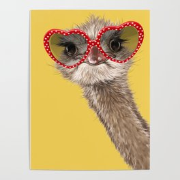 Fashion Hipster Ostrich in Yellow Poster