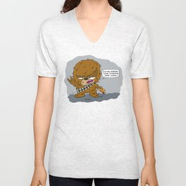 Chewie (with Pizza) Unisex V-Neck