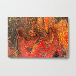 Fluid Art Acrylic Painting Pour 24, Red, Yellow, Orange & Black Blended Color Metal Print