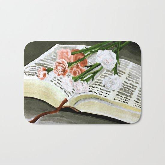 Flowers on Bible Painting Bath Mat
