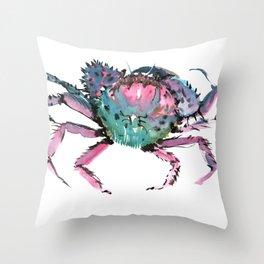 Crab Turquoise Blue Pink Crab Design Throw Pillow