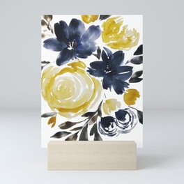 Navy and Yellow Loose Watercolor Floral Bouquet Mini Art Print