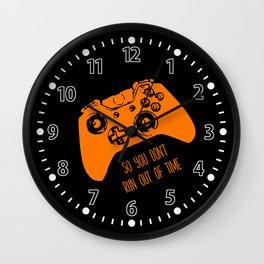 Video Game Orange on Black Wall Clock