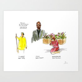 Live Sketches of Mythic dress rehearsal at Segal Centre - 4 Art Print