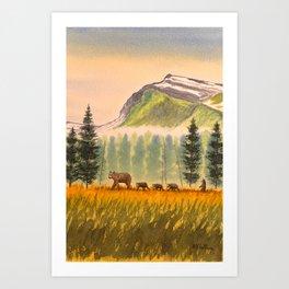 Bears On The Move - Hey Wait For Me! Art Print