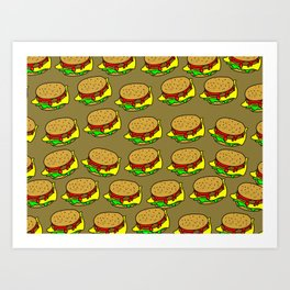 Cheeseburger Doodle Background Art Print