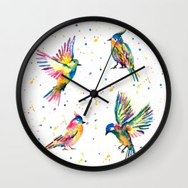 Four Colorful Birds Wall Clock