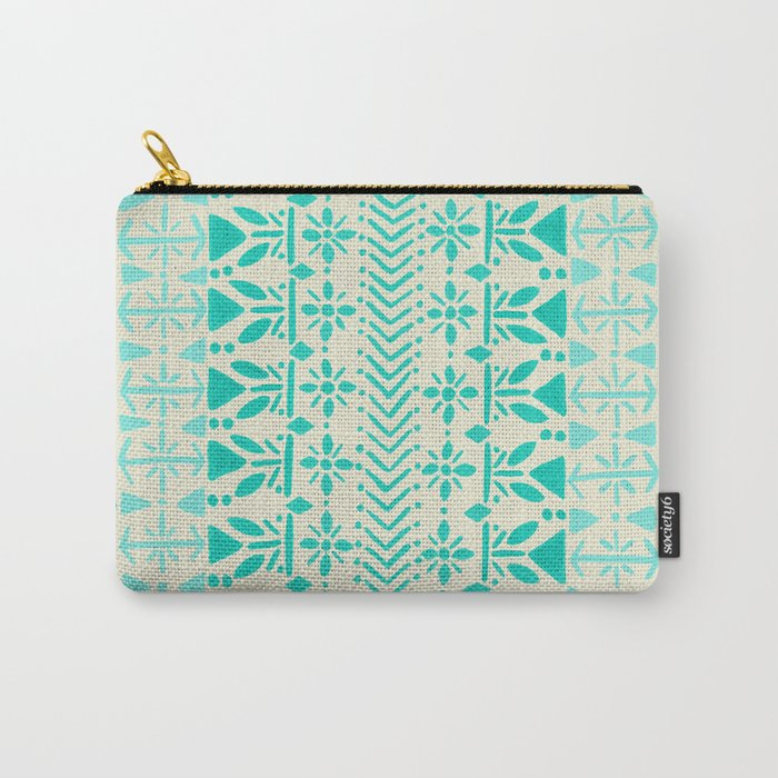 Norwegian Pattern – Aqua on White Carry-All Pouch