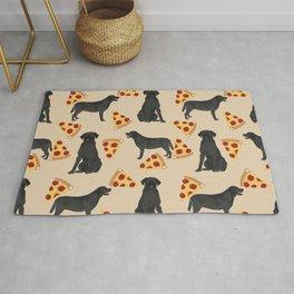 Black Lab pizza cute funny dog breed pet pattern labrador retriever Rug