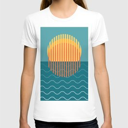 Minimalist Sunset Over Ocean, Holiday Print, Sun Set Poster, Large Printable Photography, Wall Art T-shirt