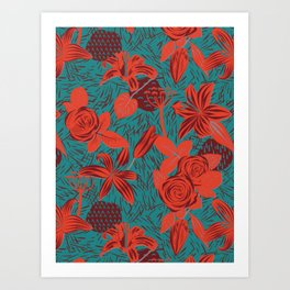 Linocut look in blue with roses Art Print
