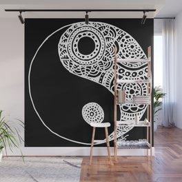 Black and White Lace Yin Yang Wall Mural