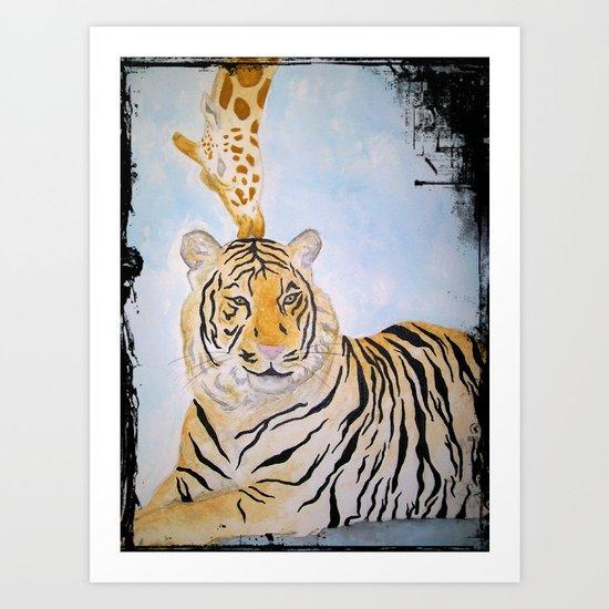 Giraffe Kissing Tiger Art Print
