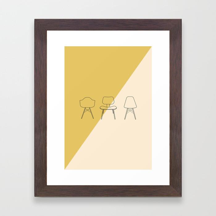 Eames Chairs Mid Century Modern Minimalist Illustration Framed Art Print
