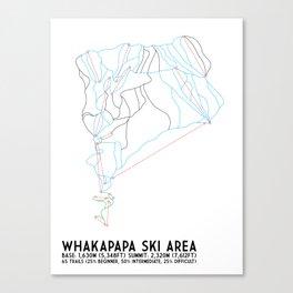 Whakapapa Skifield, New Zealand - Minimalist Trail Art Canvas Print