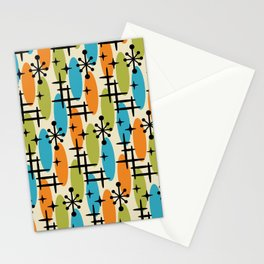 Retro Mid Century Modern Cosmic Surfer Pattern 232 Orange Turquoise and Olive Stationery Cards