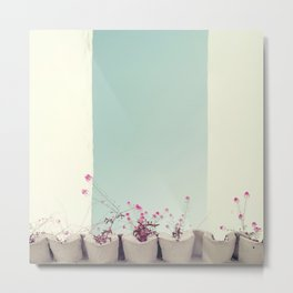 Pink flowers on the white rooftop Metal Print