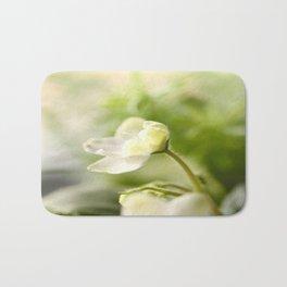 White Blossom Flower Green Leaves #decor #society6 Bath Mat