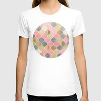 bedding T-shirts featuring Silver Grey, Soft Pink, Wood & Gold Moroccan Pattern by micklyn