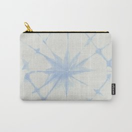 Shibori Starburst Sky Blue on Lunar Gray Carry-All Pouch