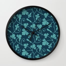 Blue Spring Flowers Pattern Wall Clock