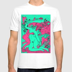 Allegorical Fight.  (Red .Vs. Green). Mens Fitted Tee MEDIUM White