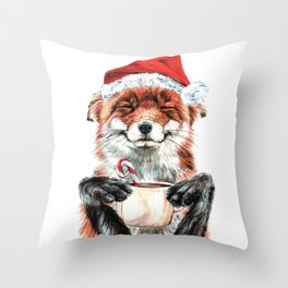 Morning Fox Christmas Throw Pillow