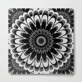 Black & White Flower Mandala Metal Print