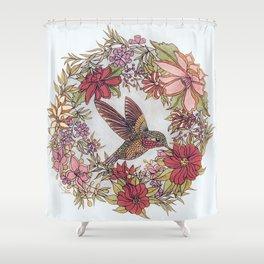 Hummingbird In Flowery Garden Wreath Shower Curtain