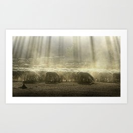 Herd sheep in the forest. Pastel colors Art Print