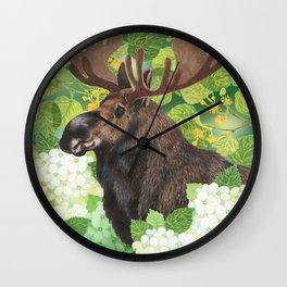 A beautiful moose in green Wall Clock
