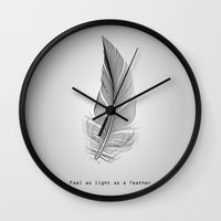 wwe Wall Clocks featuring Feel as light as a feather by eARTh