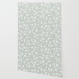 Block Printed Gray Green and White Stars Wallpaper