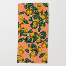 Lemon and Leaf Beach Towel