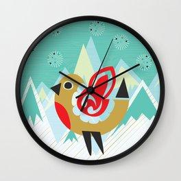 Festive Yule Snow Robin Wall Clock