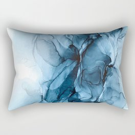 Deep Blue Flowing Water Abstract Painting Rectangular Pillow