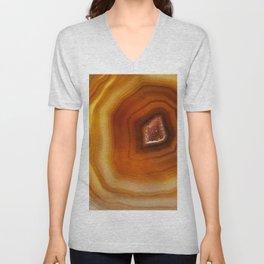 Orange Burnt Red Geode Raw Stone Crystal Agate Boho Hippie Fine Art  Print Unisex V-Neck