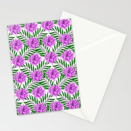 Pink blooming lily flowers and lush green leaves pretty floral feminine pattern design Stationery Cards