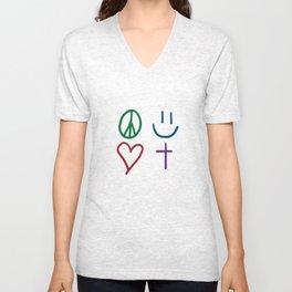 Peace, Love, Happiness, & Jesus Unisex V-Neck