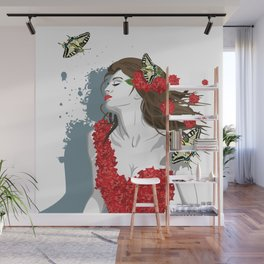 Woman in Dress from Gibiscus Flowers and Butterflies Wall Mural