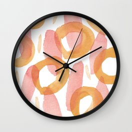 Watercolor cicles and stripes abstract patter Wall Clock